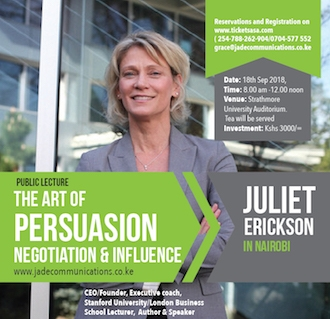 Public Lecture on the Art of Persuasion,Negotiation&Influence with Juliet Erickson