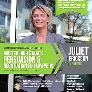 Mastering High Stakes Persuasion&Negotiation Workshop for Lawyers with Juliet Erickson.