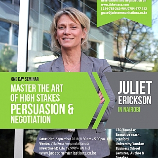 High Stakes Persuasion&Negotiation Workshop with Juliet Erickson.